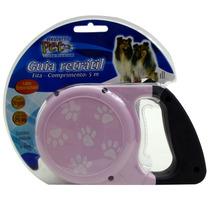 Guia Retrátil P/ Cachorro Cães 5m Com Gancho Acessório Pet