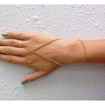 Anel Pulseira Hand Chain Indiana Boho Dourada