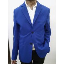 Saco Entallado Azul Francia Juvenil Talles S Al Xl Manrud