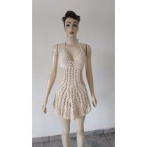 Vestido Saída De Praia Crochê Sinhá Rosa-frete Grátis