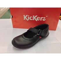 Zapatos Kickers Escolares Para Niñas De Cuero Cocidos 2016