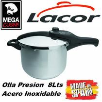 Olla A Presion Acero Inox Lacor C.8lts España Triple Fondo
