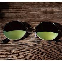 Oculos Sol Espelhado Redondo Grande Uv John Lennon Dourado