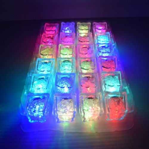 12 Hielos Luminosos Led Sumergibles Multicolor Sensor