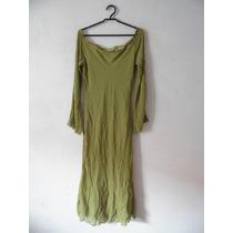 Vestido Festa Verde Chiffon Bordado Longuete Cód. 1069