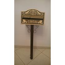 Caixa De Correio Mod Americana Alumínio Ouro Pedestal 1,3m