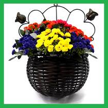 Floreira Em Junco Fibra Sintética Peq./ Jardineira De Parede