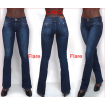 Jeans Flare Da Sawary Azul Boca De Sino Com Strech Lycra 902
