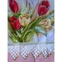 Pano De Prato Pintado Com Crochê Kit (03 Peças)