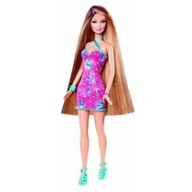 Juguete Barbie Hairtastic Vestido Rosa Largo Morena Muñeca