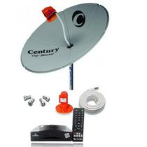 Antena Parabólica Century Chapa + Receptor + Cabo + Lnb