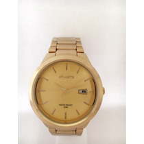 Relógio Masculino Atlantis Dourado Original Com Calendário