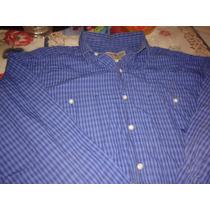 Camisa Route 66 Talle L Azul A Cuadros Manga Larga Envios