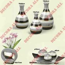 Trio Vasos + Enfeite Centro Mesa C/3 Bolas + Vaso Redondo