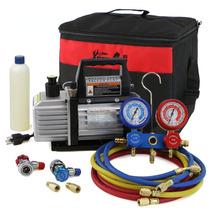 Kit Bomba Vacio 3cfm Refrigeración 1/4hp Manguera 33pulg R22