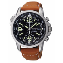 Reloj Seiko Adventure Solar Ssc081 Luna Hardlex Alarma Nuevo