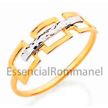 Rommanel Anel Folheado Com Aplique De Rodhium 510002