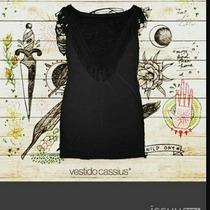 Vestido Negro Con Flecos Al Cuerpo