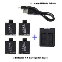 4 Baterias +1 Carregador Duplo P/ Camera Sj5000x Elite 4k