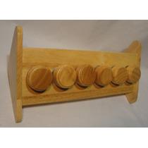 Especiero De Madera Con 6 Frascos Vidrio Con Tapas De Madera