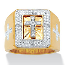 Anillo Cruz C/diamantes 1/10 Ct Oro 14k/plata Hombre T.9