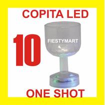 10 Copa Led Luminosa One Shot 50 Ml Boda Xv Dj Fiesta Luz