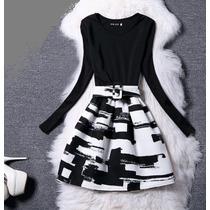 Vestido Vintage Enterizo Manga Larga Negro Con Blanco