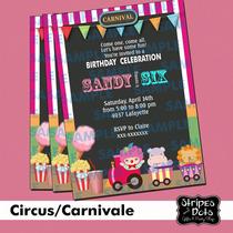 Invitaciones De Circo,invitaciones De Carnaval,payasos,clown
