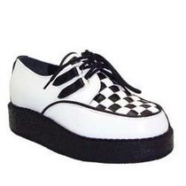 Creeper Sapato Trecê Branco Couro Frete Grátis Cr-160.