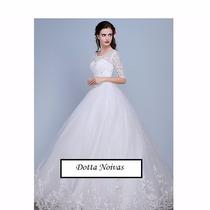 Vestido De Noiva Manga Média Barra Bordada