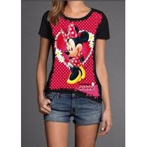 Camiseta Blusa T Shirt Feminina Minnie Preta Malha Fria Pv