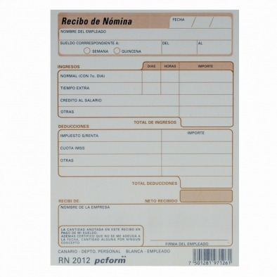 Recibo De Nomina Pcform R N2012 En Mercado Libre