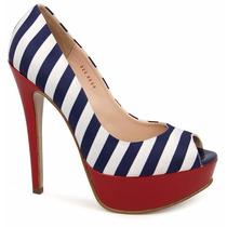 Zapatillas Marineras Peep Toe Andrea Rayas Azul Blanco Rojo