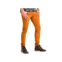 Calça Jeans Masculina Bege Caramelo Skinny Algodão Lycra