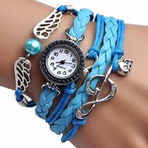 Reloj Brazalete Mujer Piel Cristal Gamuza Mayoreo Llave Sol