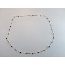 Swjoias Corrente Colar Pedras Coloridas Zirconia Ouro18k 750