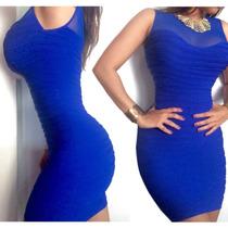 Vestido Tipo Cocktail Azul Rey O Blanco Señido Al Cuerpo