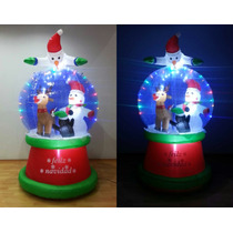Inflable Navideño Frosty Pingüi Esfera Nieva Navidad Luz Led