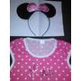 Fantasia Infantil Minnie Rosa Tamanho 6 Anos Vestido E Tiara