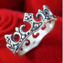 Anel Aliança Feminino De Prata 950 Legítima Coroa Rainha Top