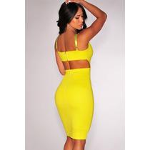Moda Sexy Mini Vestido Fiesta Amarillo Tirantes Y Abertura