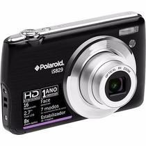 Câmera Digital Polaroid Is829, Preta, Nova, Com Sd De 4gb