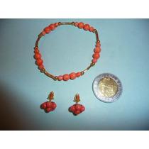 Hermosa Pulsera Y Aretes Coral Natural Con Chapa