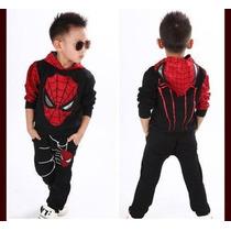 Set Spiderman Tipo Sudadera Y Pans