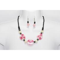 Conjunto Elegante Rosa/negro Collar, Aretes Pulsera Ce137