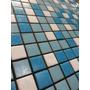 Pastilha De Vidro 2x2cm Pigmentada - Miz Azul E Branco