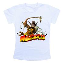 Camiseta Infantil Personalizada - Madagascar Desenho Animado