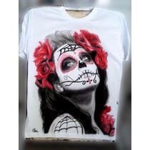 Camiseta Catrina Caveira Mexicana 100% Algodão Super Macia