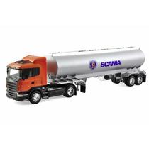 Caminhão Scania R470 1:32 Welly Laranja Com Carreta