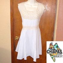Hermoso Vestido Blanco De Chiapas Bordado A Mano. Unitalla